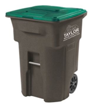 One of the City of Taylor's brown and green rubbish carts.
